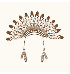 native american crown feathers vector image