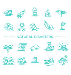 Natural disaster of thin line vector