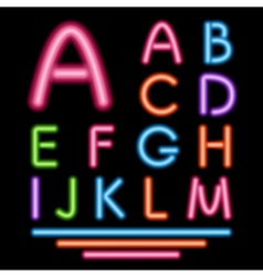 Neon Tube Letters Multicolor Glowing Font vector image