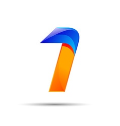 Number one 1 logo orange and blue color with fast vector image vector image