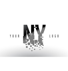 Ny n y pixel letter logo with digital shattered vector