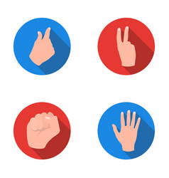 open fist victory miser hand gesture set vector image