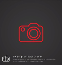 photo camera outline symbol red on dark background vector image