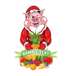 pig in clothing santa claus vector image