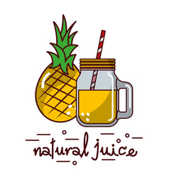 pineapple fruit and natural juice glass and straw vector image