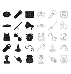 Police department blackoutline icons in set vector