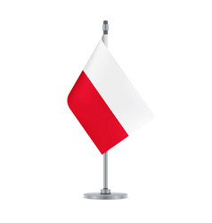 polish flag hanging on the metallic pole vector image