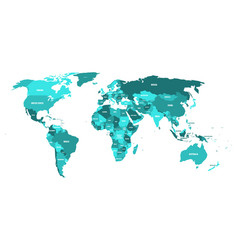 Political map of world in shades of turquoise blue vector