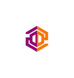 Polygon technology construction company logo vector