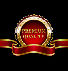 Premium quality guaranteed golden label with red r vector