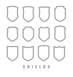 protect guard shield plain line concept outline vector image