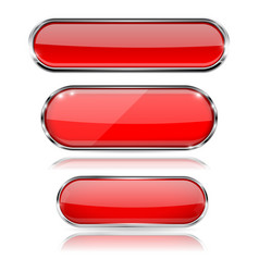 Red glass 3d buttons with chrome frame oval icons vector