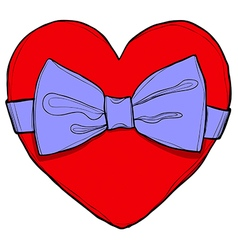 Red heart with bow vector image