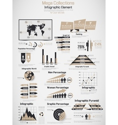 Retro infographic demographic world map elements vector