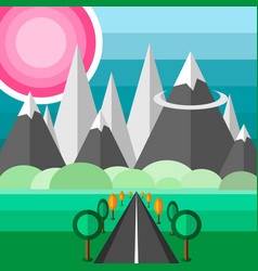 road to mountains vector image