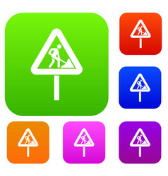 road works sign set collection vector image