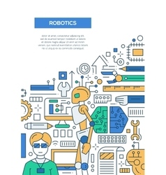 Robotics - line design brochure poster template A4 vector