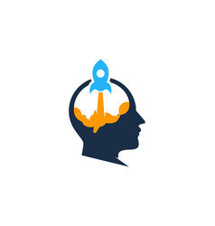 rocket brain logo icon design vector image