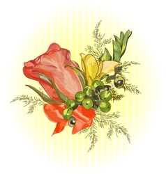 Rose and satin ribbon Wedding boutonniere vector