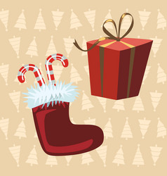 santa claus boots and red gift yellow background vector image