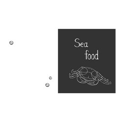 seafood background on black and white background vector image
