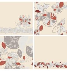 Seamless background citrus mix set vector