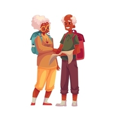 Senior old black couple travelling with backpacks vector