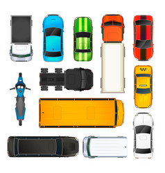 set different cars top view on white vector image
