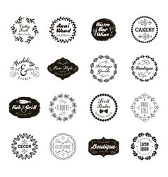 set geometric abstract logos badges vector image