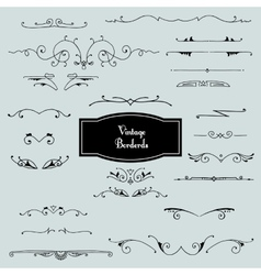 set of borders in vintage style vector image