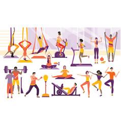 sport people training in gym cartoon sport vector image