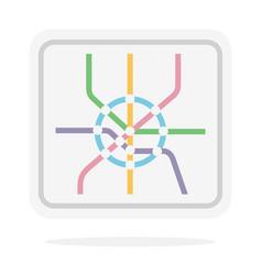 subway map flat isolated on white vector image