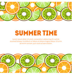 summer time banner template with tropical fruits vector image