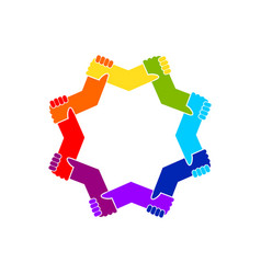 Unity in diversity holding hands star shape symbol vector
