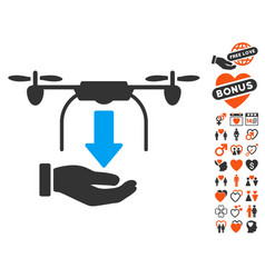 unload drone hand icon with love bonus vector image