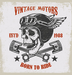 vintage motors ride hard vintage racer skull in vector image