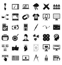 Web management icons set simple style vector