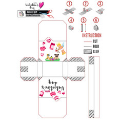 white box template with cupid angel and dog and vector image