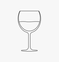 wine glass flat black outline design icon vector image
