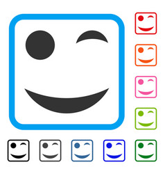 Wink smile framed icon vector