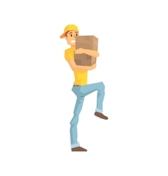 Worker Carefully Carrying A Box Delivery Company vector