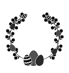 Wreath floral with easter eggs vector