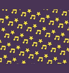 Yellow music and star icon pattern on dark purple vector