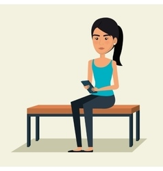 Young woman using smartphone avatar character vector