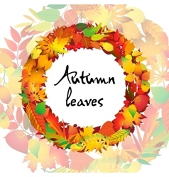 Autumnal round frame Wreath of autumn leaves vector image vector image