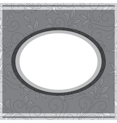 gray frame on floral gray background vector image vector image