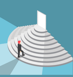 isometric businessman walking up staircase to the vector image vector image