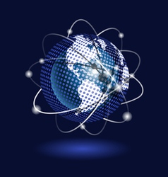 blue globe on a blue background vector image vector image