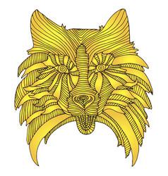 cartoon dog head a new year symbol yellow color vector image