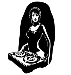 DJ girl vector image
